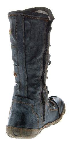 Leder Stiefel TMA Damen Winter Schuhe gefüttert Schwarz Weiß Grün Gelb Rot Braun Blau im used look Schwarz