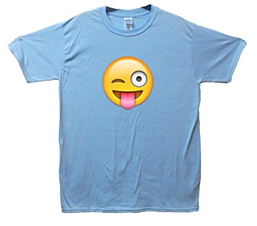 Crazy Face Emoji T-Shirt Hellblau