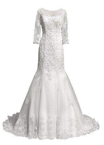 Dresstells, Robe de mariée traîne moyenne tulle dentelle forme princesse emperlée manches 3/4 Ivoire