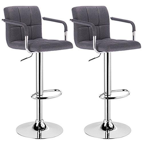 WOLTU® 2 x Barhocker mit Armlehne, stufenlose Höhenverstellung, verchromter Stahl, Antirutschgummi, gut gepolsterte Sitzfläche aus Leinen, Dunkelgrau BH59dgr-2