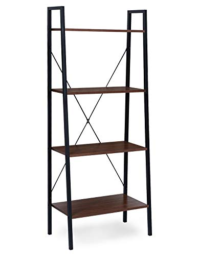 Suhu Abstellraum Regal Vintage Bücherregal Offenes Standregal Küche Metallregal Deko Raumteiler Treppenregal Stufenregal Blumentreppe aus Stahl und Holz mit 4 Ablage Schwarz + Walnussfarbe (Stahl Regale Aus Schwarzem)