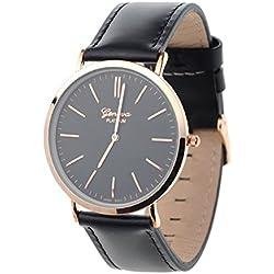 Men's Geneva Japanese Movement Stainless Steel Back Genuine Leather Strap Watch - Black/Black