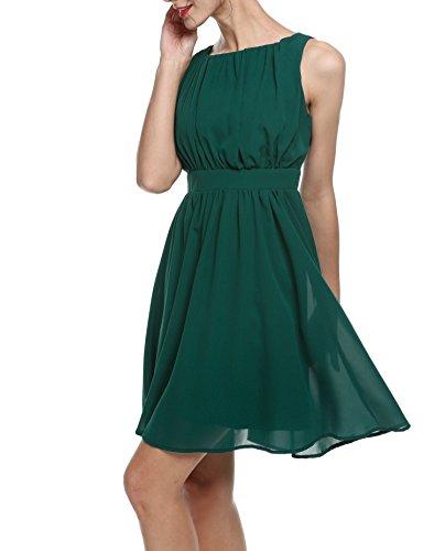 Zeagoo Damen Elegant Cocktailkleid Sommerkleid Partykleid A-Linie Festliches Kleid mit Falten Dunkelgrün