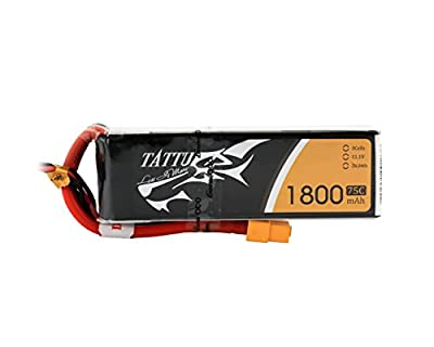 Tattu LiPo Battery Pack 1800mAh 75C 3S 11.1V with XT60 Plug for RC Car Boat Truck Heli Airplane UAV Drones FPV Racing Quadcopters