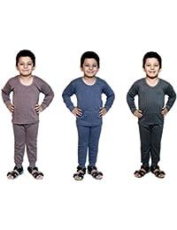 Bodysense Multicolor Thermal Top & Pyjama Set for Boys & Girls (Pack of 3 Sets)