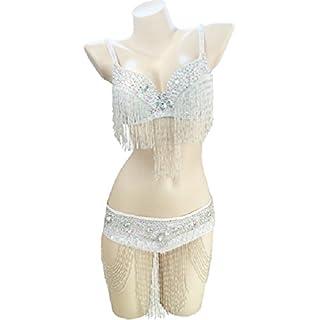 WQWLF Women Belly Dance Bra Top With Fringe Indian Dance Performance Costume Beaded 2 PCS, M