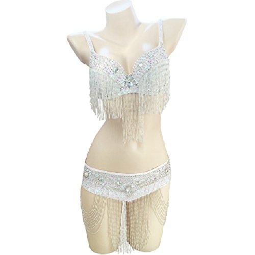 Rongg Damen Bauchtanz BH-Oberteil Mit Fransen Indischer Tanz Performance Kostüm Perlen 2 Stück, A, L (2 Stück Zeitgenössischen Tanz Kostüme)