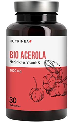 Acerola Bio Vitamin C 1000 mg - Natürliches Vitamin C Hochdosiert aus Acerola Frucht-Extrakt - Pulver/Tablette Vegan
