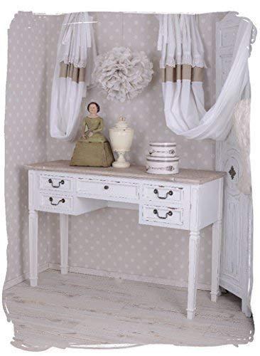 Antiker Schreibtisch, Computertisch, Schreibmöbel, Sekretär, Arbeitstisch, Tisch aus Holz im angesagten Vintage-Stil in Weiß - Palazzo Exclusive -