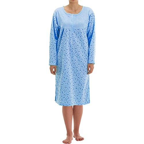 Lucky Thermo Damen Nachthemd mit Print, Größe:L;Farbe:Hellblau
