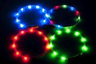 Visio Light - LED Halsband Hundesicherheit Hunde Leuchthalsband Innovation: ohne Batterien -universell kürzbar -Pink