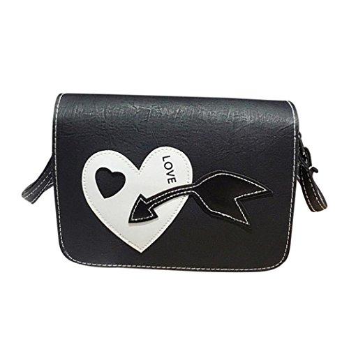 Kangrunmy borse tracolla armani jeans,donne messenger borse a forma di cuore semplice indossare spalla borsa crossbody borse (nero)