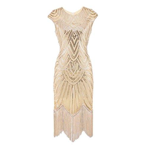 gaddrt Frauen Kleid Quaste Prom Kleider Perlen Pailletten Art Nouveau Deco Flapper (Blau, L)