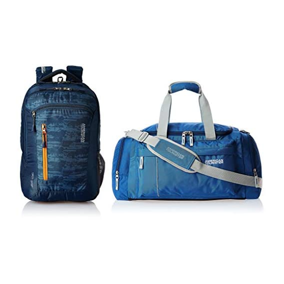 American Tourister Polyester 28 Ltrs Blue Laptop Backpack + Nylon 55 cms Blue Travel Duffle (AMT TECH GEAR LAPTOP BP 03-BLU + 40X (0) 01 008)