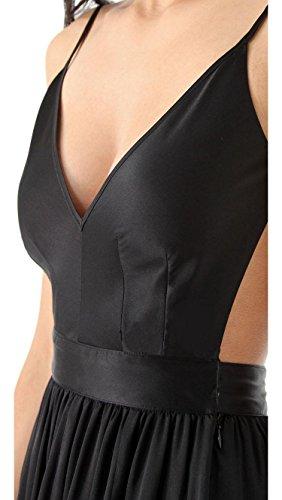 Ghope Femme Robe Long Maxi Elegant Soirée Uni Sans Manche Sexy Dos Nu Cérémonie Tenue de soirée Noir