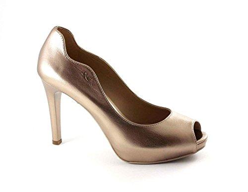 NERO GIARDINI 17370 laminato scarpe donna decolletè spuntata tacco pelle Oro