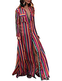 2018 Verano Mujer Vestidos Fiesta Largos Elegantes,ZARLLE Fashion Womens Long Sleeve Striped Button Bohe