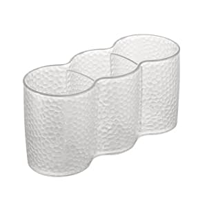InterDesign Rain Cosmetic Organizer Trio Cup for Vanity Cabinet to Hold Makeup, Beauty Products - Clear