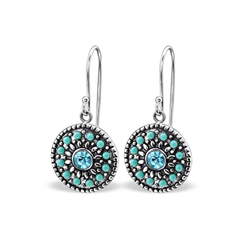 Liara - Mosaic Crystal Earrings 925 Sterling Silver. Polished And Nickel Free