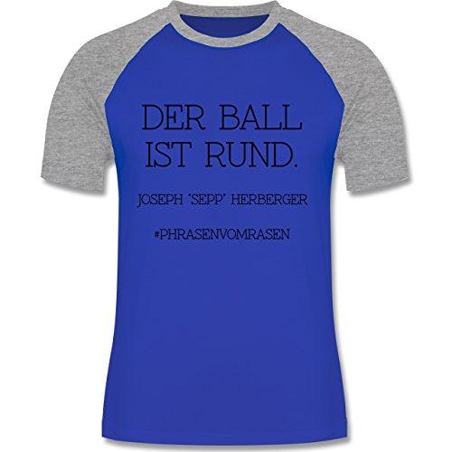EM 2016 - Frankreich - Der Ball ist rund - zweifarbiges Baseballshirt für Männer Royalblau/Grau meliert