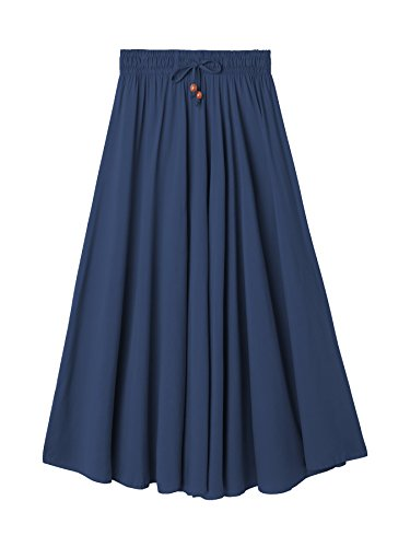 DEBAIJIA Damen Maxirock Elegant Vintage Seidig Gefühl Abendrock Lässig Strand Sommer Röcke Baumwolle Einfach Shick Baumwolle+Seide - Marineblau