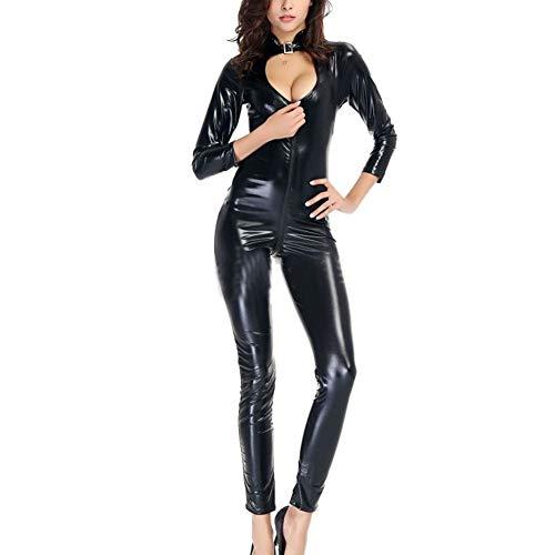 AKAKKSKY Damen Lack Latex Catsuit Jumpsuit Wetlook Sexy Dessous Reißverschluss offenen Schritt Body Übergrößen Overall Catwoman S-XXXXL,XL