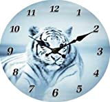 Wanduhr weißer Tiger liegend Figur Raubtier Tier Afrika Uhr TOP