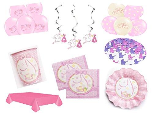 Partydekoset Babyparty Baby Shower Mädchen rosa 53 teilig für bis 10 Personen Pullerparty Baby Geburt Babyparty Komplettset Tischdeko Party Geschirr