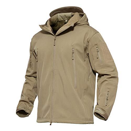 KEFITEVD Tactical Jacke Softshell Herren Tarn Belüftungssystem Sportjacke Fleece Innenseite Hoodie-Jacke Reisen Alltag Khaki L (Etikett: XL)