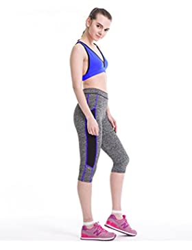 Fliegend Leggings Mujer 3/4 Pantalones de Yoga Cintura Alta Mallas Color Patchwork Push Up Fitness Leggins Elásticas...