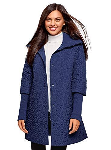 oodji Collection Mujer Abrigo Acolchado con Cuello Alto, Azul, ES 38 / S