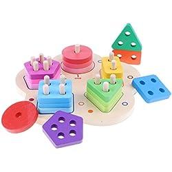 Baoblaze Bloques De Geometría De Madera Montessori Clasificación Juguetes De Apilamiento Número De Matemáticas Forma De Color Puzzle Juegos De Mesa Niños Pequeños Desarrollo Educativo Juego