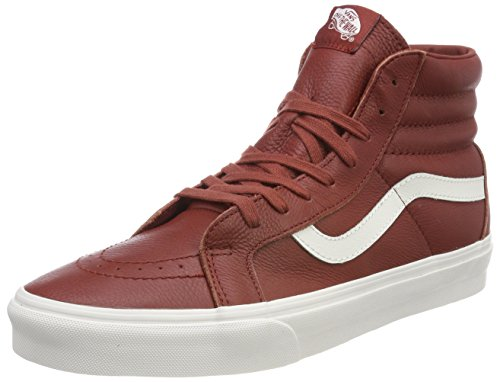 Vans Sk8-hi Reissue, Unisex-Erwachsene High-Top Sneaker, Rot (Leather-BurntHena/Blanc), 38 EU