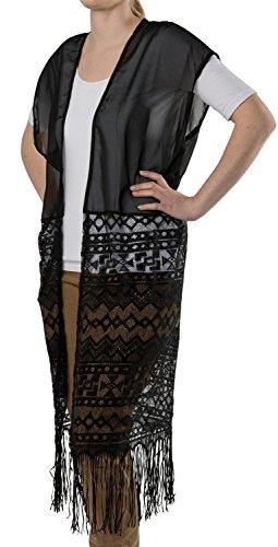 styleBREAKER Lange leichte Sommer Weste im Ethno Style mit Armauschnitten, Fransen und Spitze, Damen 08010020, Farbe:Schwarz