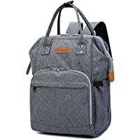 Large Capacity Nappy Changing Backpack, YIMOJI Multi-function Baby Diaper Bag Mom and Dad Travel Backpack with 3 Insulated Thermal Milk Bottle Pockets (Grey)