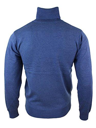 Pull homme ceintré à col roulé en mélange cachemire laine polyester gris noir bleu marine blue