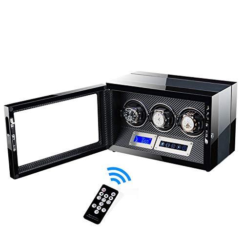 CX ECO Uhrenbeweger Mechanische Uhr Drehbare Displaybox mit 3 Wickelplätzen mit integrierter Beleuchtung Aufbewahrungsbox für Uhren mit Automatikaufzug,Fiber