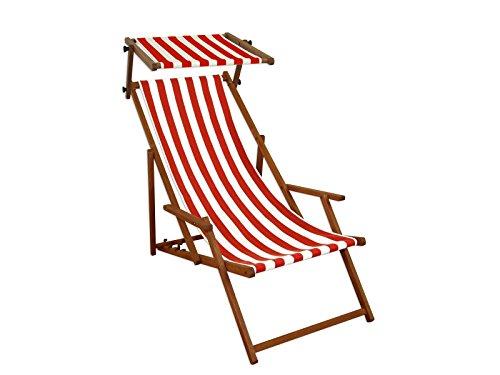 Sedie A Sdraio Da Mare.Lettino Prendisole Sdraio Da Giardino Rosso Bianco Spiaggia Legno