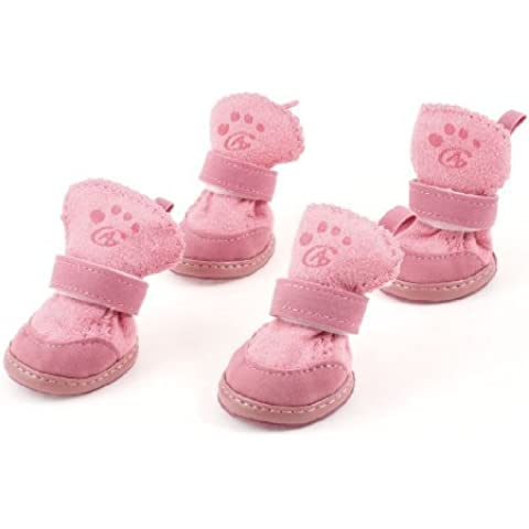 Water & Wood Pink Nonslip Sole Velcro Booties Pet Dog Chihuahua Shoes Boots 2 Pair S