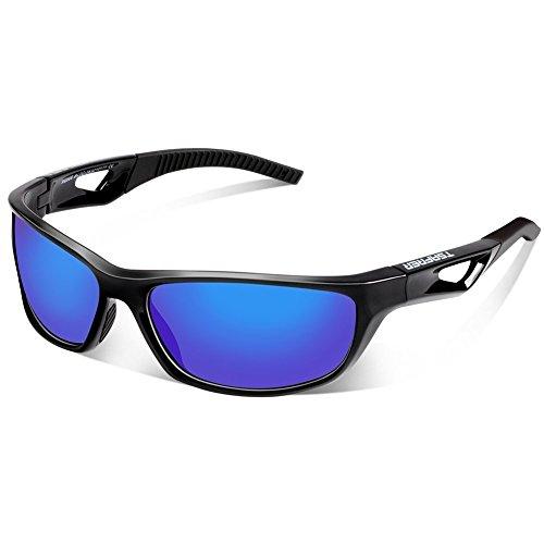 TSAFRER Sport Sonnenbrille Polarisierte Sportbrille Fahrradbrille mit UV400 Schutz für Damen und Herren Autofahren Laufen Radfahren Angeln Golf TR90 (Black-Blue)