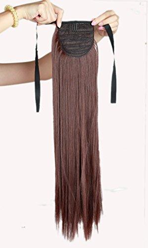 Haar Verlängerung Perücke (Clip in Extensions Haarverlaengerung Pferdeschwanz Zopf Haarverdichtung Haarteile Peruecken Tie Up Bindung Ponytail ca.55cm/22 Zoll Glatt Pony Tail Wie Echthaar)