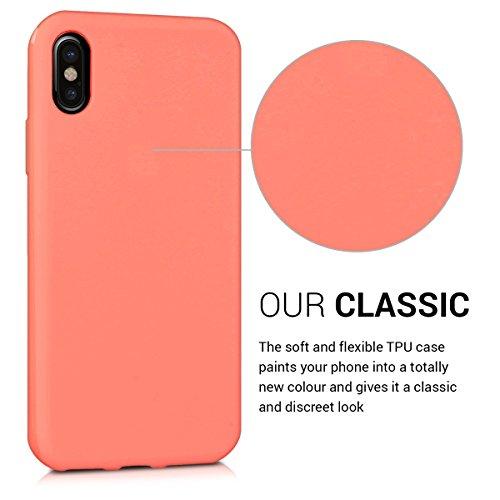 kwmobile Cover per Apple iPhone X - Custodia in silicone TPU - Back case protezione posteriore per cellulare rosso scuro metallizzato .corallo opaco