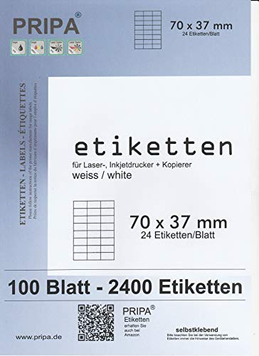 pripa - Amazon FBA Versand Etiketten 70,0 x 37,0-24 Stueck auf A4-100 Blatt DIN A4 selbstklebende Etiketten - DHL Post