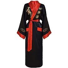 Kimono japonés mujer negro y rojo bata reversible