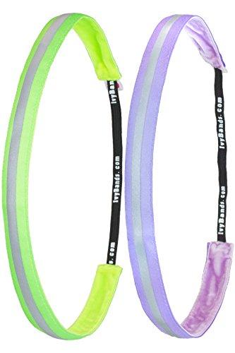 Ivybands ® - Das Anti-Rutsch Haarband | 2-er Pack | Green Violett Reflective Pack 2017 Grün Lila Reflektierend (1,6 cm Breite) IVY784 IVY787