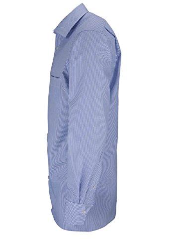 MARVELIS Modern Fit Hemd Langarm Zündholzstreifen mittelblau Blau