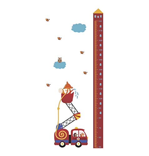 Tiere Feuer Rettungswagen Höhe Maßnahme Wandaufkleber Für Kinderzimmer Wachstum Chart Hause Tür Decor PVC Wandbild Wandkunst Aufkleber 145 * 65 cm - Chart Tür Wachstum