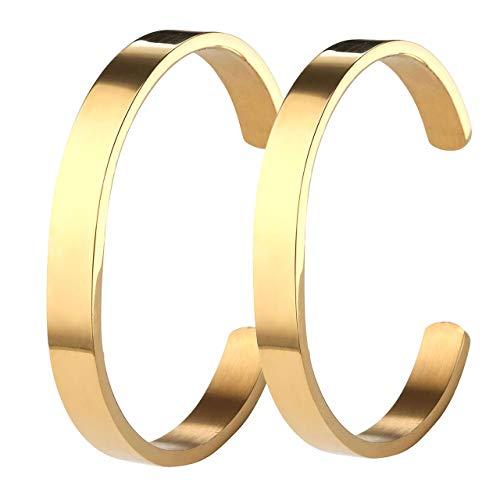 Zysta 2 StückPaar SchmuckEdelstahl Armband Männer Frauen Armreif Damen Herren Armspange Silber Gold Schwarz Verstellbar (Gold Set)