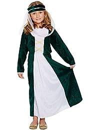 Kinder Grün & Weiß Mittelalter Maiden Princess Fancy Dress Kostüm
