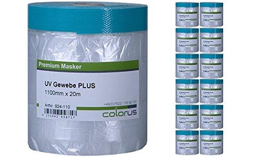 12 x Colorus Masker Tape PLUS UV Gewebe 20m mit 110 cm Abdeckfolie - Cover Quick Folien Abklebe Tape - UV Abdeckband - Folien Klebeband
